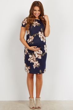 Navy Floral Fitted Maternity Dress