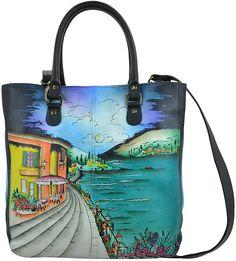 Blue Moonlight Capri Hand-Painted Leather Shopper