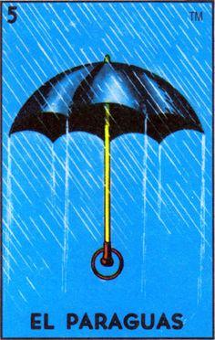 loteria, mexican, rain, umbrella, el paraguas - Loteria Mexicana - Mexican Bingo