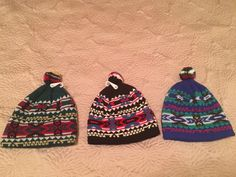 Mens Vintage Warm Beanie Winter Pom Pom Ski Hat Caps Lot of 3  Blue Green 297f7e4aed42