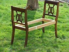 Two matching chairs . . . broken . . . reclaimed as sides of a bench . . . genius.