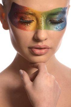 rainbow mask with glitter