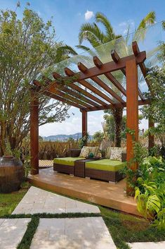 Gazebo, Pergola or Cabana? Which is the best choice for your backyard? Looking to add some shade and privacy to your backyard? Why not try a pergola, Wooden Pergola, Outdoor Pergola, Backyard Pergola, Pergola Shade, Pergola Kits, Backyard Landscaping, Pergola Lighting, Pergola Carport, Carport Garage