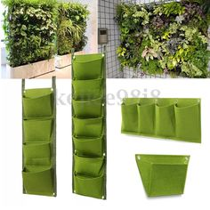 Scenarios: Gardening, balcony garden, home furnishings, green engineering, flower nursery production. Perfect for creating a bright feature wall or vertical herb garden. 1 x 4 Pockets wall plant bag.   eBay!