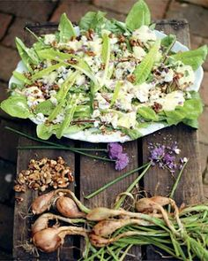 this looks as yummy as it sounds! Cheese and Onion Salad with Creamy Herb Dressing via Jamie Oliver