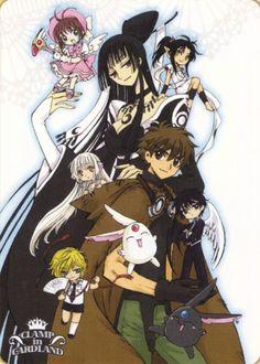 Yuuko and Syaoran. Chibi characters from top to bottom: Sakura, Ashura, Chii, Kamui, Nokoru. Don't forget the Mokonas.