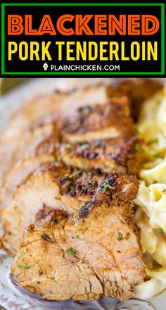 Blackened Pork Tenderloin - the BEST pork tenderloin EVER! SO much amazing flavor! Pork is marinated overnight in a mixture of arlic, onion. Pork Tenderloin Recipes, Pork Chop Recipes, Meat Recipes, Chicken Recipes, Cooking Recipes, Pork Chops, Pan Seared Pork Tenderloin, Recipies, Pork Fillet