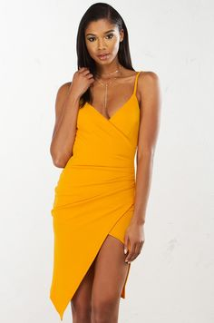 12132b212811 Deep V Bodycon Dress in White and Yellow