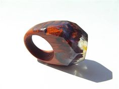 Wooden epoxy ring. Padauk. Womens wooden ring. Lilac wooden