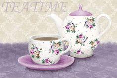 Linda-Wood-Teatime-Kueche-Fertig-Bild-30x50-Stillleben-Wandbild-Tee