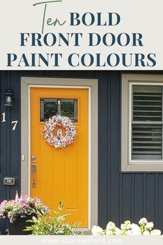 Exterior Door Colors, Front Door Paint Colors, Exterior Color Schemes, Painted Front Doors, Front Door Design, House Paint Exterior, Paint Colours, Yellow Front Doors, House Painting