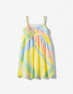 DRESS WITH COLOURED EDGING AND PLAITED STRAPS