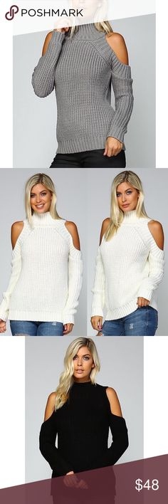 DEE Turtle Neck Cold Shoulder Sweater - GREY Turtle Neck Cold Shoulder Sweater   AVAILABLE IN WHITE, MAUVE, GREY AND BLACK.  Fabric 100% SOFT ACRYLIC   NO TRADE, PRICE FIRM Bellanblue Tops Tees - Long Sleeve