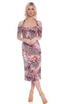 Rochie creion cu imprimeu AM-21709011 multicolor -  Ama Fashion Cold Shoulder Dress, Floral, Dresses, Fashion, Vestidos, Moda, Fashion Styles, Flowers, Dress