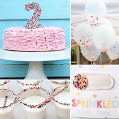 A Sweet, Sprinkles-Inspired Partyshe requested sprinkles as the theme of her birthday party. Her sweet tooth is renowned in these parts (second only to her mamas), so a sprinkle party is perfectly suited for her second birthday celebration, Kirstin says. Second Birthday Ideas, 3rd Birthday Parties, Birthday Fun, Birthday Celebration, 2 Year Old Birthday Party Girl, Fourth Birthday, Sprinkle Party, Sprinkle Shower, Baby Sprinkle