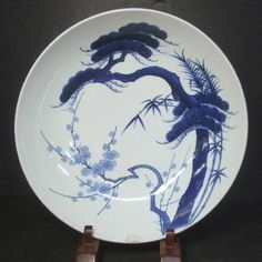 F365 RARE Real Old Japanese Nabeshima Blue and White Porcelain Ware Big Plate | eBay