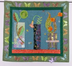 Art Quilt Wall Hanging Flower Vases and by RobinsArtAndDesign, $575.00