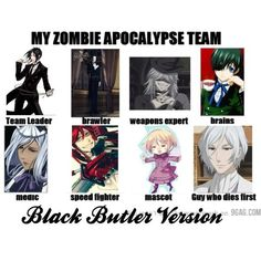 Heh! I would have grell or Alois as the mascot tbh. XD Claude can be the first to die. XD