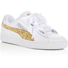 a35e93538d54 Puma Women's Basket Heart Leather & Glitter Lace Up Sneakers ($95) ❤ liked  on Polyvore featuring shoes, sneakers, white, puma trainers, white leather  ...