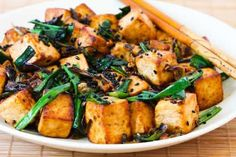 Stir-Fried Tofu Recipe with Scallions, Garlic, Ginger, and Soy Sauce - Vegan