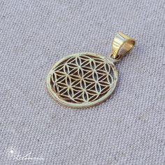 Geometria Sagrada SMALL Pendente Flor da Vida Bronze by KalinamMandalaArt on Etsy