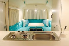 I love this gleaming white and blue camper complete with sparkle!  Camper Restoration - Biod Bambi 2L by AILAFM, via Flickr