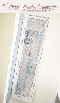 diy mirror hidden jewelry organizer, organizing, storage ideas