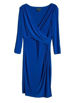 Ralph Lauren Three Quarter Sleeve Surplice Blue Jersey Dress 18 #RalphLauren #Sheath #Formal
