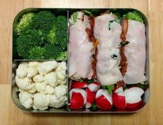 Low carb bento box lunch -  turkey bacon rolls and misc. veggies. #atkinsinduction