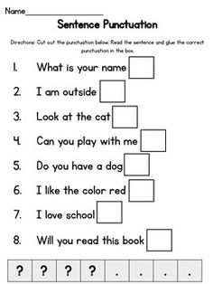 Introduce question marks and periods to your students with this interactive worksheet. Read the simple sentence, and decide if it is an asking sentence or a telling sentence. English Worksheets For Kids, 2nd Grade Worksheets, English Lessons For Kids, School Worksheets, Grammar Worksheets, Learning English, Printable Worksheets, Punctuation Activities, Teaching Punctuation