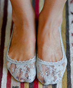 Look at this #zulilyfind! Gray Lace Peep-Toe Socks - Women #zulilyfinds