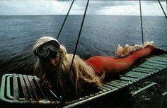 "Daryl prepping for underwater filming on the movie ""Splash""."