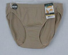 Vanity Fair Panties Sz 7 L Bikini Coconut Brown 100% Nylon Solid Tailored BTS www.bevsthisnthatshop.com
