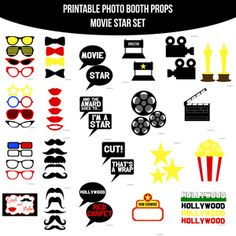 Amanda Keyt DIY Printable Photobooth Prop Sets and more! Movie Star Party, Movie Stars, Hollywood Decorations, Hollywood Theme Classroom, Hollywood Birthday Parties, Cinema Party, Diy Photo Booth Props, Photobooth Props Printable, Backyard Movie Nights