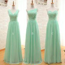 Mint Green longue en mousseline de soie une ligne plissée robe de demoiselle d'honneur moins de 50 mariage de partie robe 2016(China (Mainland))