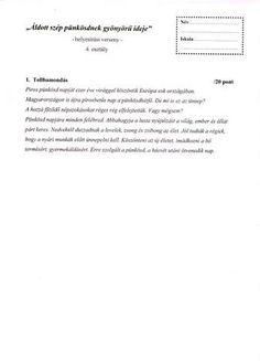 HELYESÍRÁSI VERSENY 4. OSZTÁLY PÜNKÖSD - tanitoikincseim.lapunk.hu Brain Teasers, Personalized Items, Learning, Brain Games, The Riddler