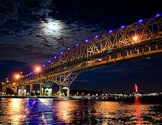 Moonlight over the Blue Water Bridges, Port Huron, Michigan. [image by gear*ART, copyright 2012]— with Teresa A. Jex. by Pure Michigan, via Flickr