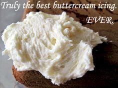 Ingredients:1 cup of salted butter  3 teaspoons of vanilla  4 cups of icing sugar  4-5 tbsp cream  Instructions  Whip that butter, with a paddle beater if you have it, if not, don't worry.  Add in the icing sugar* make sure it's fresh!*  Add in the cream. Not milk, cream. I used 4 tablespoons for my preference, you adjust to what you want.  Stiffer icing = less cream.  Whippier icing = more cream. Vanilla…. I used 3 tsp. Then keep mixing until fluffy and thoroughly combined.