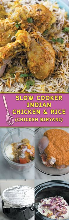 slow cooker chicken biryani - A simple NO-FUSS Indian chicken & rice recipe, big on flavors and made in a slow cooker! Just 30 minsutes prep work and come back home to a intoxicating delicious Biryani!