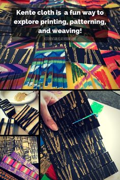Kente cloth has bright colors, snappy geometric patterns. All of these qualities make this woven cloth a natural for inspiring art work in little people. African Art Projects, African Art For Kids, Africa Craft, Weaving For Kids, Kente Cloth, Paper Weaving, African Textiles, Teaching Art, Teaching Packs