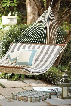 Backyard Hammock Ideas -Laying in a hammock is one of the most peaceful things in the world. Check out lazy-day backyard hammock ideas! Backyard Hammock, Outdoor Hammock, Hammocks, Patio Hammock Ideas, Dog Backyard, Eno Hammock, Camping Hammock, Outdoor Spaces, Outdoor Living
