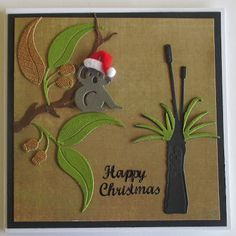 A bit of a fun Christmas card . yes Christmas is just around the corner .today using Ultimate Crafts Australiana die collection. Australian Christmas Cards, Aussie Christmas, Summer Christmas, Christmas Cards To Make, Xmas Cards, Christmas Greetings, All Things Christmas, Christmas Crafts, Christmas Place