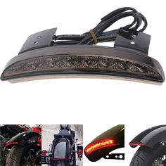 Smoke Motorcycle Tail Lights For Harley Davidson 883 XL883N XL1200N Chopped Bobber Cafe Racer Rear Fender Edge LED Taillight