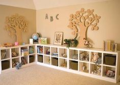 DIY toy storage for basement.   Paint the wall, floors, and ceiling. Place an in expensive area rug on the floor. Line the walls with the shelves. Put cut-out designs above shelves. Ready to play/recreate.