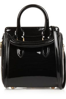 Alexander McQueen The Heroine small patent-leather shoulder bag | NET-A-PORTER
