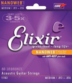 Elixir Nanoweb 80/20 Coated Acoustic Guitar Strings