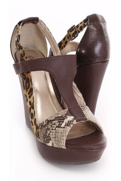 Brown Animal Print Sandal Wedges Faux Leather