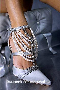 Soft Blue Satin Evening Heels Embellished w Pearls+Crystals