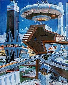 City of the Future and Flying Torus by Robert McCall  #futurecity  #RobertMcCall  #Flyingtorus