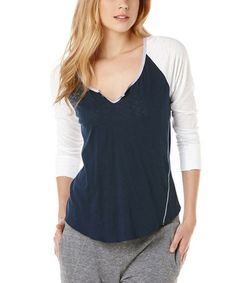 Another great find on #zulily! Navy & White Raglan Top #zulilyfinds